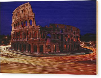 Traffic Races Around The Ruins Wood Print by Winfield Parks
