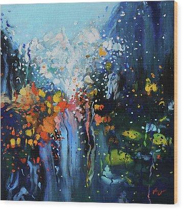 Traffic Seen Through A Rainy Windshield Wood Print by Dan Haraga