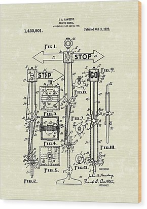 Traffic Signal 1922 Patent Art Wood Print by Prior Art Design