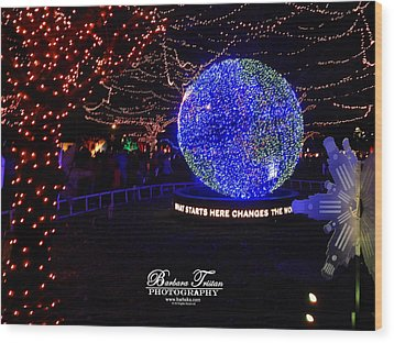 Trail Of Lights World #7359 Wood Print by Barbara Tristan