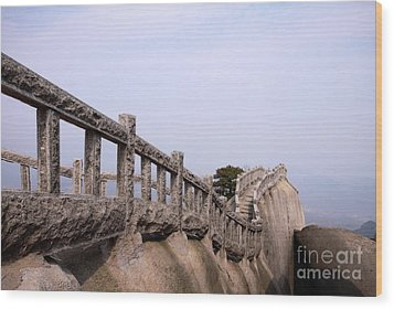 Trail On Mountain Ridge Wood Print by Charline Xia