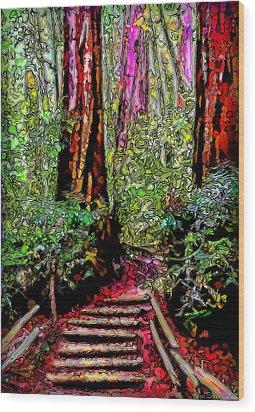 Wood Print featuring the digital art Trail Through The Redwoods - Tamalpais California by Joel Bruce Wallach