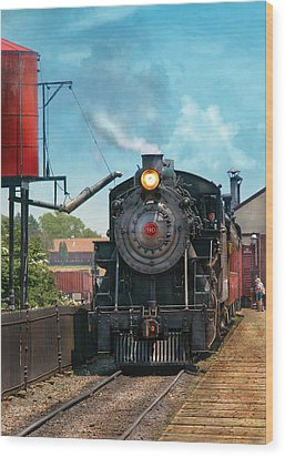 Train - Engine - Strasburg Number 9 Wood Print by Mike Savad