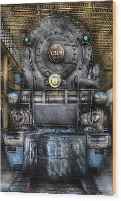 Train - Engine -1218 - Norfolk Western Class A - 1218 - Front View Wood Print by Mike Savad