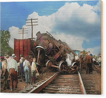 Wood Print featuring the photograph Train - Accident - Butting Heads 1922 by Mike Savad