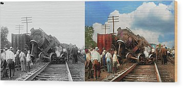 Wood Print featuring the photograph Train - Accident - Butting Heads 1922 - Side By Side by Mike Savad
