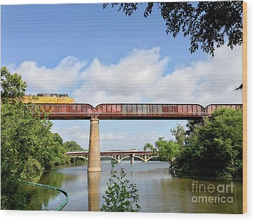 Train Across Lady Bird Lake Wood Print