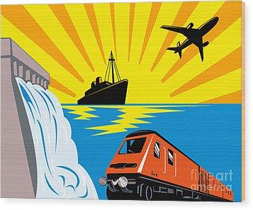 Train Boat Plane And Dam Wood Print by Aloysius Patrimonio