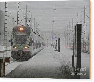 Train In Helsinki Wood Print