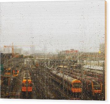 Train In The Rain Wood Print