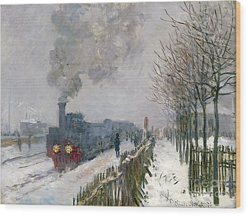 Train In The Snow Or The Locomotive Wood Print by Claude Monet