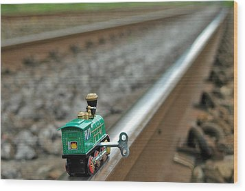 Train On Tracks Wood Print by Bill Kellett