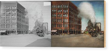 Wood Print featuring the photograph Train - Respect The Train 1905 - Side By Side by Mike Savad