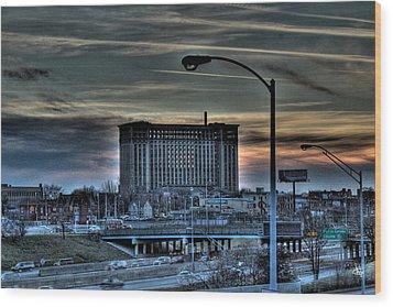 Train Station Detroit Mi Wood Print by Nicholas  Grunas