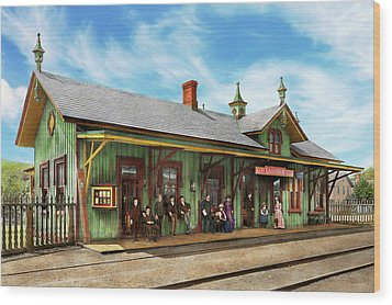 Wood Print featuring the photograph Train Station - Garrison Train Station 1880 by Mike Savad
