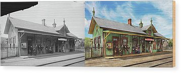 Wood Print featuring the photograph Train Station - Garrison Train Station 1880 - Side By Side by Mike Savad
