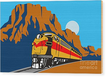 Train Traveling With Canyon Wood Print by Aloysius Patrimonio