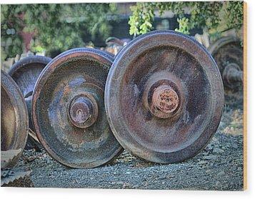 Train Wheels Wood Print by Steve Siri