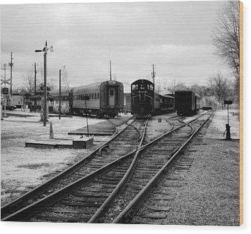 Train Yard Wood Print by Fred Baird