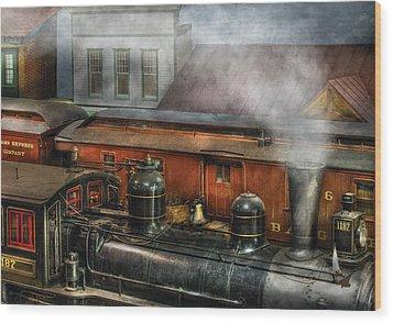 Train - Yard - The Train Yard II Wood Print by Mike Savad