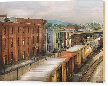Train - Yard - Train Town Wood Print by Mike Savad