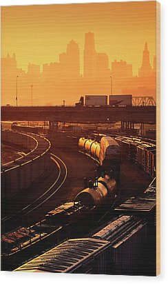 Trains At Sunrise Wood Print by Don Wolf