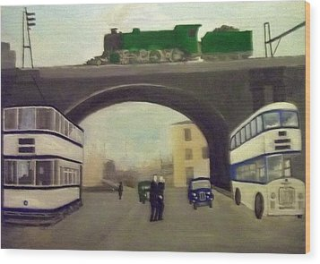 1950s Tram, Locomotive, Bus And Cars In Sheffield  Wood Print