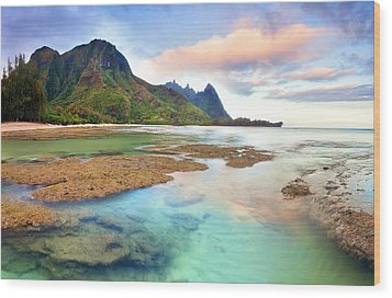Tranquil Dawn Hawaii Wood Print by Monica and Michael Sweet
