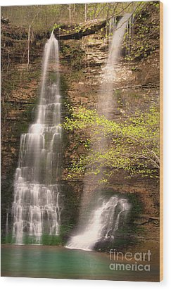 Tranquil Falls In Vertical Wood Print by Tamyra Ayles