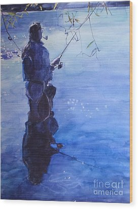 Tranquil Fishing Wood Print by Greta Corens