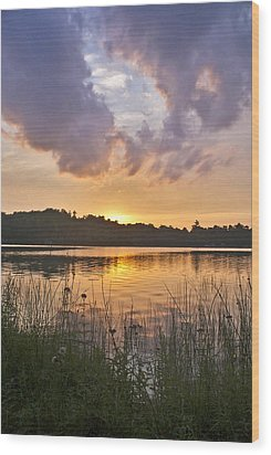 Tranquil Sunset On The Lake Wood Print by Gary Eason