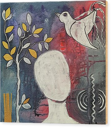 Wood Print featuring the mixed media Tranquility by Mimulux patricia no No