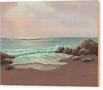 Wood Print featuring the painting Tranquility Of The Sea by Sena Wilson