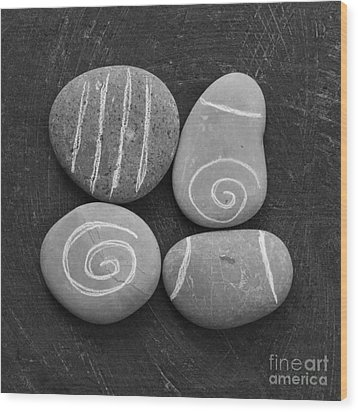 Tranquility Stones Wood Print by Linda Woods