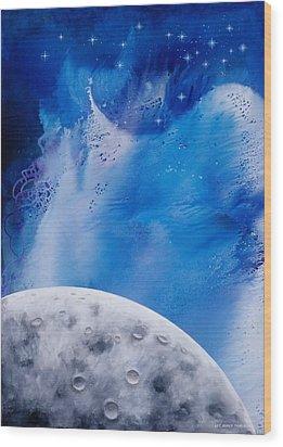 Transcendental Moon Wood Print by Lee Pantas