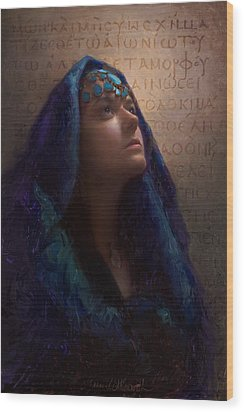 Wood Print featuring the painting Transformation - Woman With Romans 12 2 Written In Original Greek  by Karen Whitworth