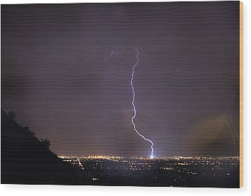 Wood Print featuring the photograph It's A Hit Transformer Lightning Strike by James BO Insogna