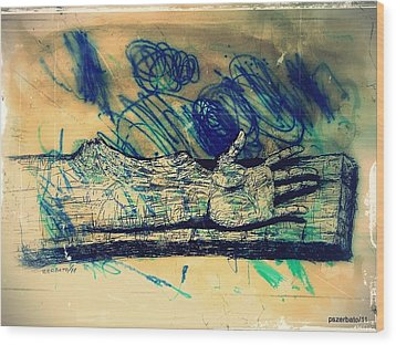 Transforming A Piece Of Wood In Man Wood Print by Paulo Zerbato