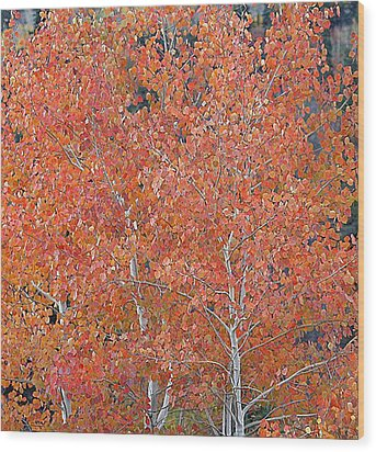Wood Print featuring the digital art Translucent Aspen Orange by Gary Baird