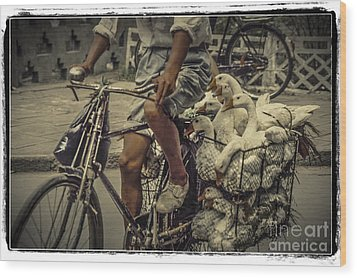 Wood Print featuring the photograph Transport By Bicycle In China by Heiko Koehrer-Wagner
