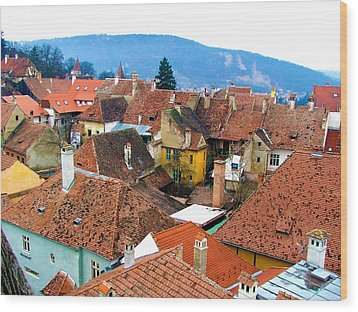 Transylvania Rooftops Wood Print