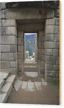 Wood Print featuring the photograph Trapezoidal Door, Machu Picchu, Peru by Aidan Moran