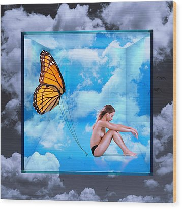 Trapped Butterfly Wood Print
