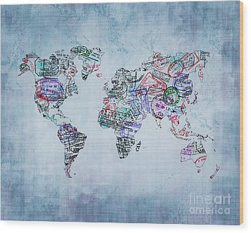 Traveler World Map Blue 8x10 Wood Print by Delphimages Photo Creations