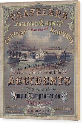 Travelers Insurance Company Advertising Wood Print by Everett
