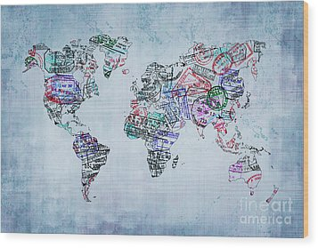 Traveler World Map Wood Print by Delphimages Photo Creations