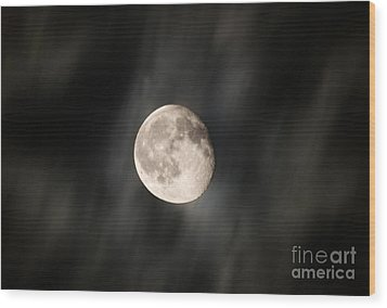 Travelling With Moon Wood Print by Manjot Singh Sachdeva