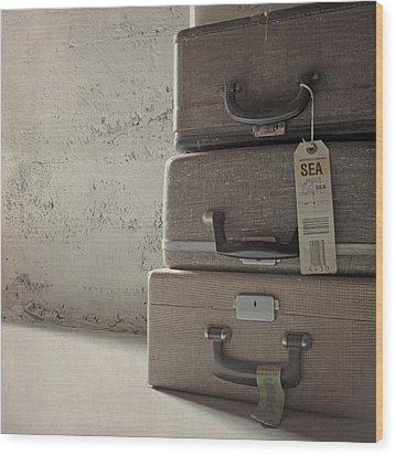 Wood Print featuring the photograph Travels With A Typewriter by Sally Banfill