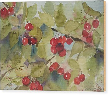 Traverse City Cherries Wood Print by Sandra Strohschein