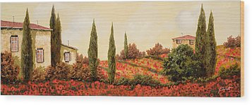 Tre Case Tra I Papaveri Wood Print by Guido Borelli